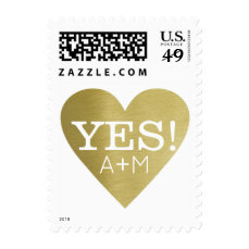 YES heart of love with couple initials wedding Postage