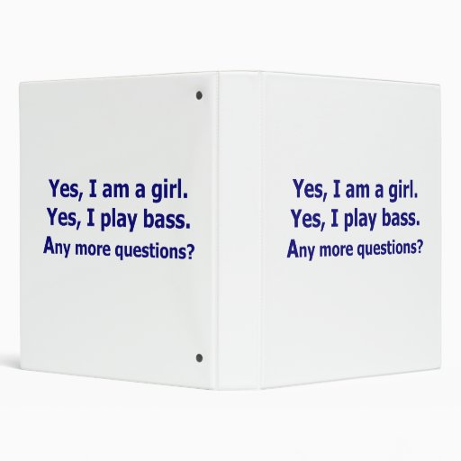 Yes I am a girl text only play bass dark blue Vinyl Binders
