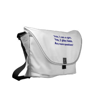 Yes I am a girl text only play bass dark blue Courier Bag
