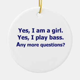 Yes I am a girl text only play bass dark blue Christmas Tree Ornaments