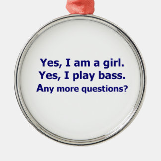 Yes I am a girl text only play bass dark blue Christmas Ornament