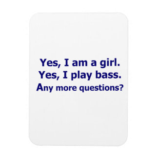 Yes I am a girl text only play bass dark blue Rectangle Magnet