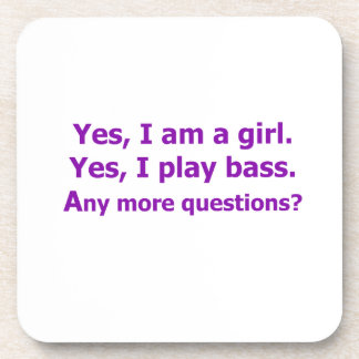 yes I am a girl text only play bass purple Coaster