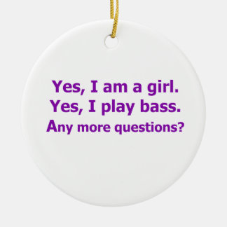 yes I am a girl text only play bass purple Christmas Ornaments