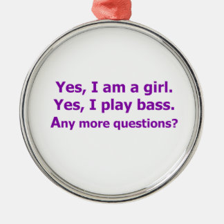yes I am a girl text only play bass purple Christmas Ornament