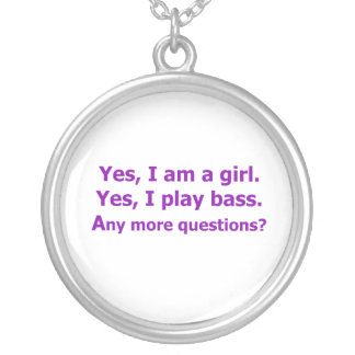 yes I am a girl text only play bass purple Silver Plated Necklace