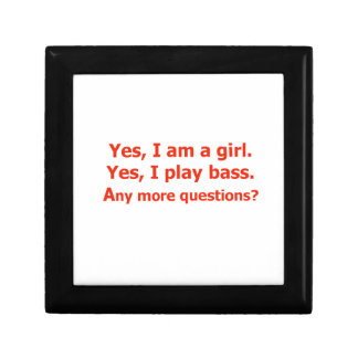 yes I am a girl text only play bass red Gift Boxes