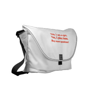yes I am a girl text only play bass red Messenger Bag