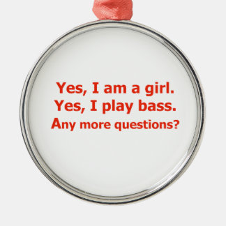 yes I am a girl text only play bass red Christmas Ornament
