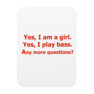 yes I am a girl text only play bass red Flexible Magnet