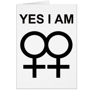 yes i am a lesbian greeting card