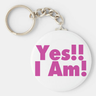 Yes I Am Basic Round Button Keychain