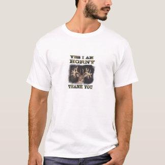 YES I AM HORNY DEER HEAD T-Shirt