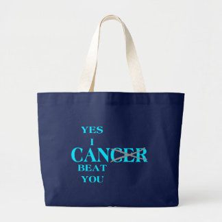 Yes I Can Beat Cancer Blue Large Tote Bag