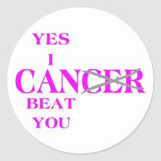 Yes I Can Beat Cancer Pink Classic Round Sticker