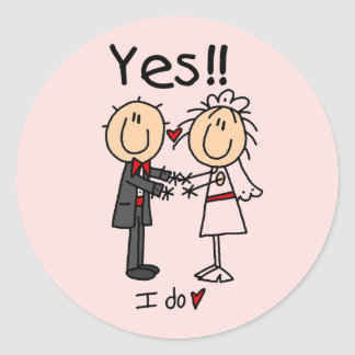 YES I Do Bride and Groom T-shirts and Gifts Classic Round Sticker