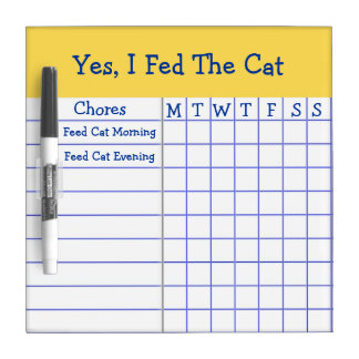 Yes I Fed The Cat Kids Weekly Chores Check List SM Dry Erase Board