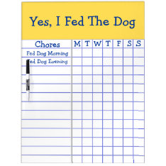 Yes I Fed The Dog Kids Weekly Chores Check List Lg Dry Erase Board at Zazzle