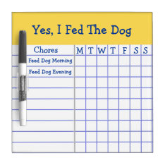 Yes I Fed The Dog Kids Weekly Chores Check List Sm Dry-erase Board at Zazzle