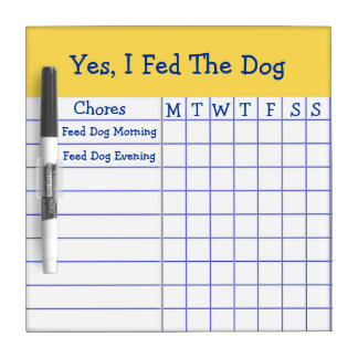 Yes I Fed The Dog Kids Weekly Chores Check List SM Dry-Erase Board
