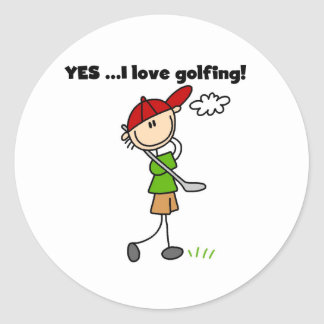 YES I Love Golfing Classic Round Sticker