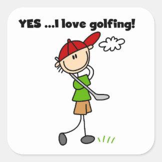 Yes I Love Golfing Square Sticker
