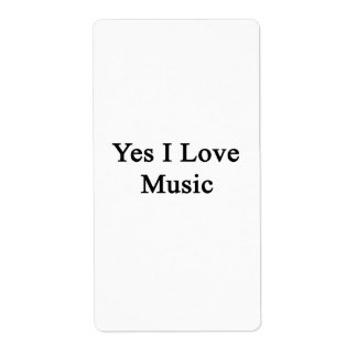 Yes I Love Music Personalized Shipping Labels