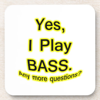 Yes I Play Bass Black Text Yellow Glow Beverage Coaster