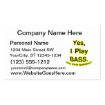 Yes I Play Bass Black Text Yellow Glow Business Card Template
