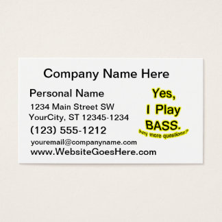 Yes I Play Bass Black Text Yellow Glow Business Card