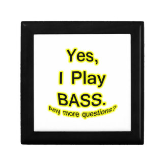 Yes I Play Bass Black Text Yellow Glow Keepsake Boxes