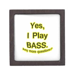 Yes I Play Bass Black Text Yellow Glow Premium Trinket Boxes