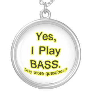 Yes I Play Bass Black Text Yellow Glow Silver Plated Necklace