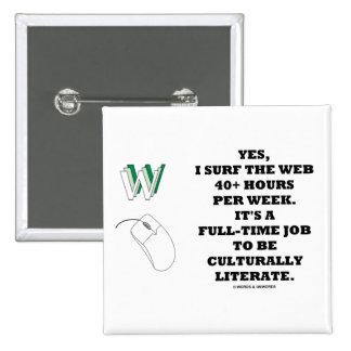 Yes I Surf The Web 40+ Hours Per Week Geek Humor Pin