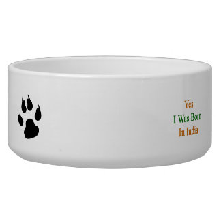 Yes I Was Born In India Dog Bowls