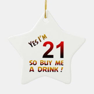 Yes I'm 21 so buy me a drink ! Double-Sided Star Ceramic Christmas Ornament
