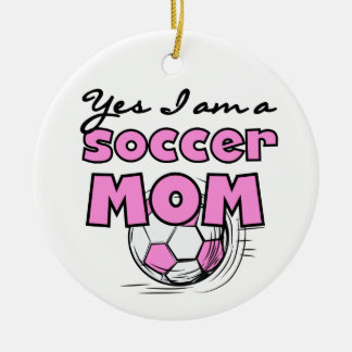 Yes I'm a Soccer Mom T-shirts and Gifts Double-Sided Ceramic Round Christmas Ornament