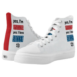 Yes I'm American Yes I Love Soccer Sneakers