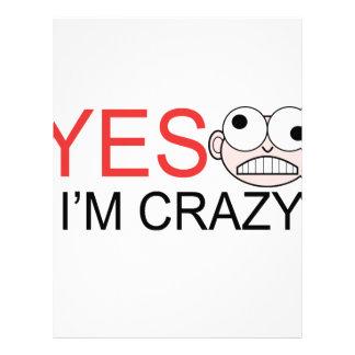 YES I'm Crazy Letterhead