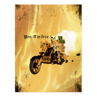 Yes, I'm free, funny skeleton drive motorcycle Postcard