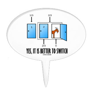 Yes, It Is Better To Switch (Three Doors One Goat) Cake Topper