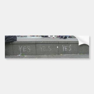 Yes Pro-Independence Chalk Graffiti in Edinburgh Bumper Sticker