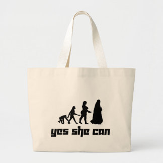 Yes she can large tote bag