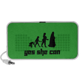 Yes she can PC speakers