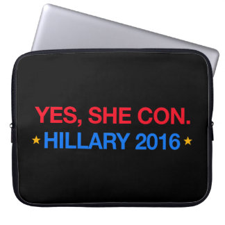 yes,she con. hillary 2016 computer sleeve