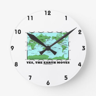 Yes The Earth Moves (Plate Tectonics Earthquakes) Round Clock