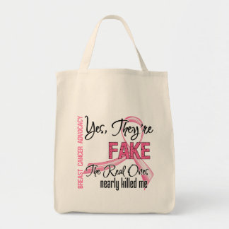 Yes They Are Fake - Breast Cancer Tote Bags