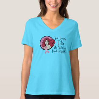 Yes They Are Fake Redhead Breast Cancer Survivor T Shirt