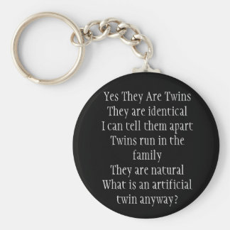 Yes They Are Twins Basic Round Button Keychain