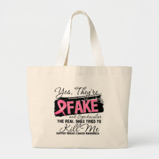 Yes Theyre Fake and Spectacular - Breast Cancer Canvas Bags
